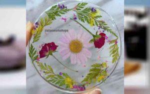 resin flower coaster art activity