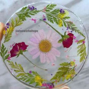 resin flower coaster art activity product